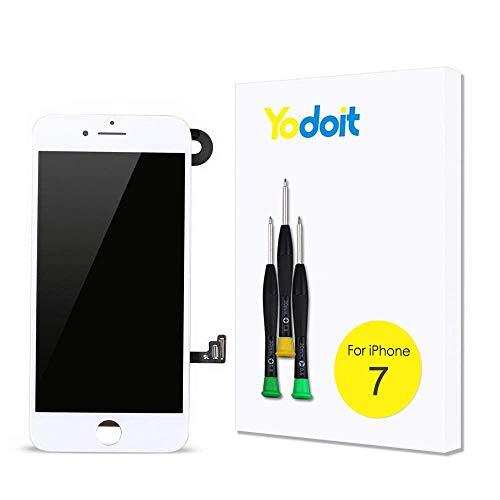 Yodoit Komplett Display für iPhone 7 LCD Bildschirm vormontiert weiß, Digitizer Montage Glas Touchscreen mit Frontkamera Näherungssensor Hörmuschel Reparaturset Ersatzbildschirm + Werkzeuge