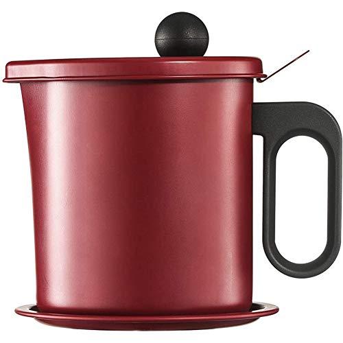 Kuinayouyi Depósito de grasa para almacenamiento de aceite, red de filtro, recipiente de grasa para tocino con tapa a prueba de polvo y bandeja para posavasos de 1,7 L, color rojo vino