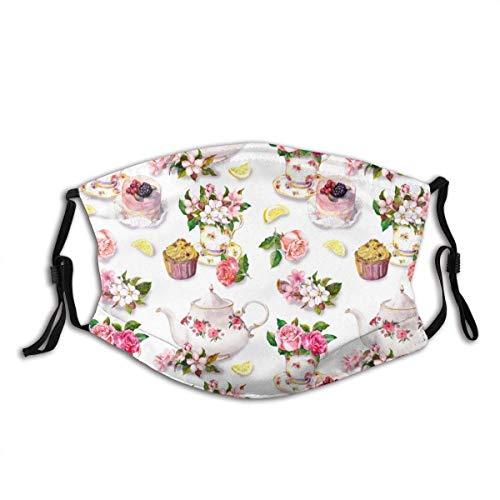 Teemuster mit Blumen in Tee, Kuchen und Teekanne. Aquarell Gesichtsdekorationen FA-Ce Co-Ver FA-Ce Mas-Ke Mit Filtern