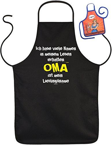 Schürze mit Omas: Ich habe viele Namen... Oma ist mein Lieblingsname - Geschenk zum Geburtstag - Mit gratis Mini Schürze - Muttertagsgeschenk