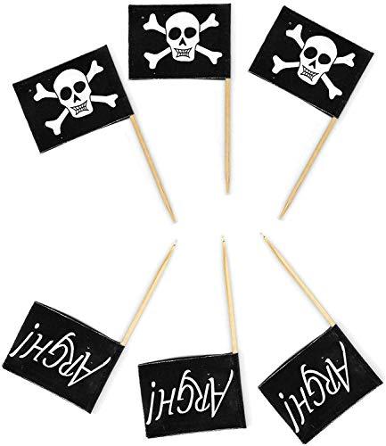 Shatchi 12154 Zahnstocher mit Piratenflagge, Holz, 50 Stück