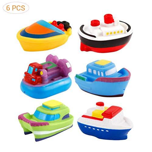 Egosy 6 Piezas Bath Boat Toys Baby Dibujos Animados Barco Goma Blanda Badespielzeug Schwimmbad Baby niños Agua Spray Juguetes schwimmendes Barco