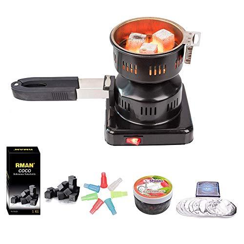 RMAN - Juego de shisha con encendedor de carbón eléctrico, 1 kg, carbón natural de coco, piedras de vapor Shiazo, lámina, boquillas y pinzas de carbón para pipa de agua