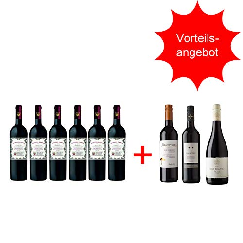 Rotwein Italien Primitivo Doppio Passo halbtrocken + Rotweinpaket trocken(6 + 3 x0,75l)