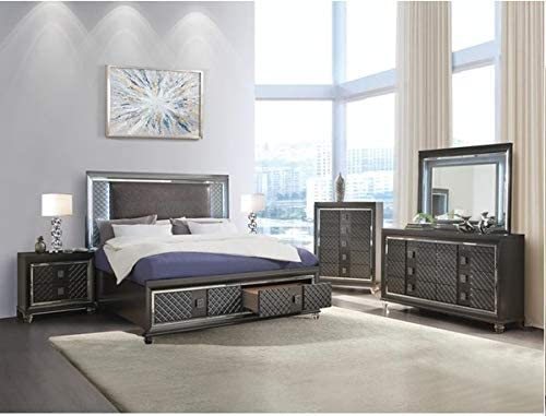 Esofastore 6pc Metallic Gray Mail order cheap Furniture Bedroom Don't miss the campaign East Contemporary