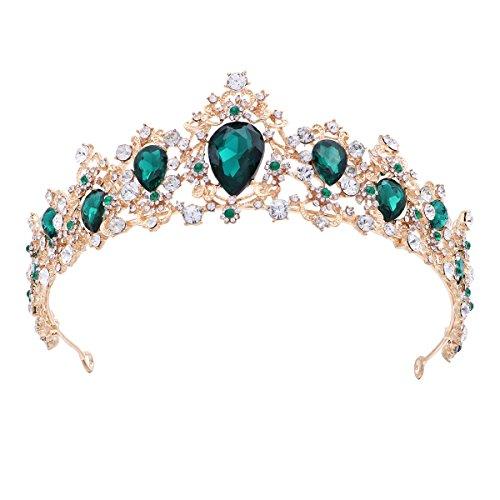 Frcolor Royal Crystal Tiara Green Rhinestone Queen Tiara Wedding Crown Princess Hair Accessories for Bridal (Emerald Color)