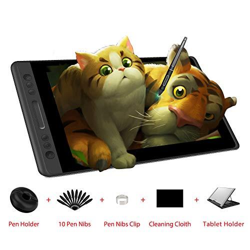 HUION Kamvas Pro 13 HD 13.3 in Tableta Monitor con función de inclinación Pluma sin batería con 8192 sensibilidad a la presión y 4 Express Keys 1 Touch Bars Tableta gráfica con Pantalla