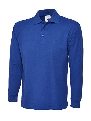 Uneek UC113 Polo piqué à Manches Longues en Polyester/Coton Unisexe Bleu Roi, XXXXL