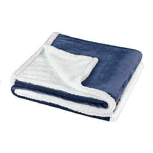 BaSaTex Sherpa Kuscheldecke Wohndecke | extra flauschig warme Sofadecke, Couchdecke | 150x200 cm Flauschdecke | Blau