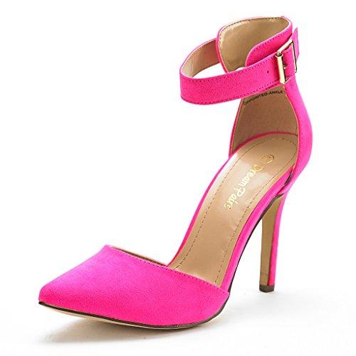 DREAM PAIRS Oppointed-Ankle Zapatos de Tacón Vestir Tobillo Correa para Mujer Fucsia 38.5 EU/7.5 US