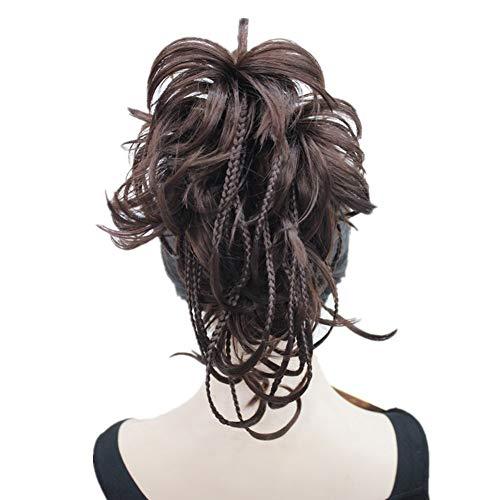 WPLHH Pelucas de pelo de 30,48 cm, extensión rizada, con aspecto natural, resistente al calor (rubio de fresa clara) largo y recto (color: #33 castaño oscuro)