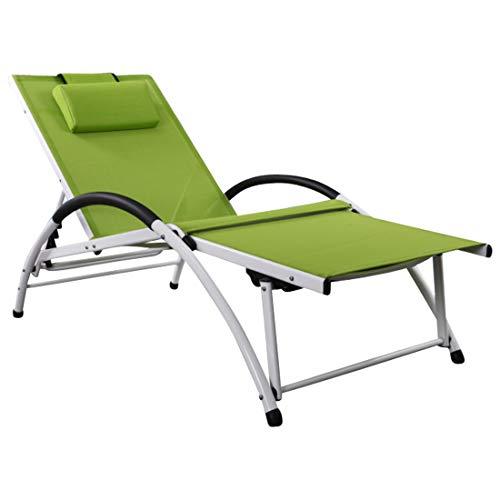 AS-S Chaise Longue de Jardin en Aluminium Stable pour Sport avec Tissu Plastique Respirant et Coussin FIT - Vert de