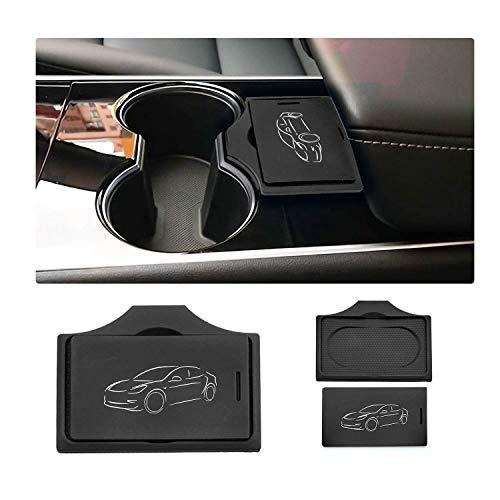 Tesla Model 3 専用 センターコンソール キーカード ホルダー 車種専用設計 LFOTPP (黒)