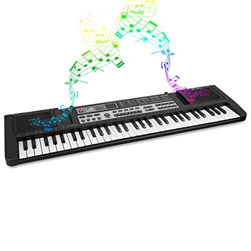 Piano de 61 teclas, órgano electrónico portátil para niños, teclado digital con micrófono, juguete musical, con 16 tipos de timbre, 8 tipos de efectos de sonido de instrumentos de percusión