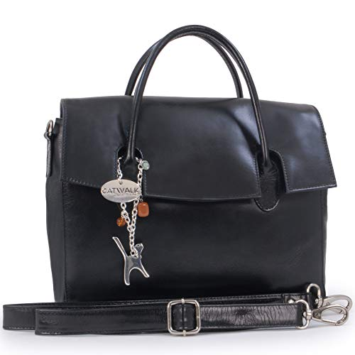 Catwalk Collection Handbags - Vera Pelle - Borsa a Tracolla da Lavoro/Borse a Mano/Spalla/Messenger/Borsa Business/Tracolla Regolabile e Rimovibile - Per iPad/Tablet - Ella - NERO