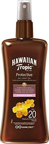 Hawaiian Tropic Protective Aceite Seco Bronceador SPF 20 con Protección Media, Fragancia de Coco y Guayaba, Marrón, 200 ml