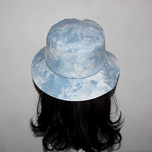 TIEDAN Chapeau de Bassin imprimé d'été pour Femme, Chapeau de pêcheur de Lettre, Chapeau de Marque de marée de Parasol de Protection Solaire en Plein air-Denim tie-Dye_Ajustable