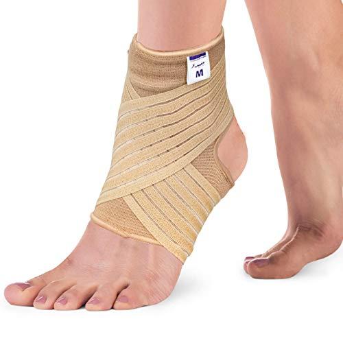 Actesso Elastische Knöchel Bandage - Sprunggelenk mit Wickelband. Fussbandage für zerrungen, verstauchungen und Sport (Beige, Mittlegröß (22-25 cm))