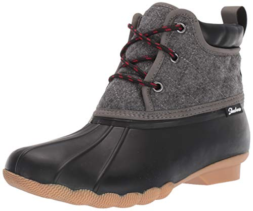 Skechers Women's Pond-Lil Puddles-Mid Quilted Lace Up Duck Boot with Waterproof Outsole Rain, Black/Charcoal, 8 M US