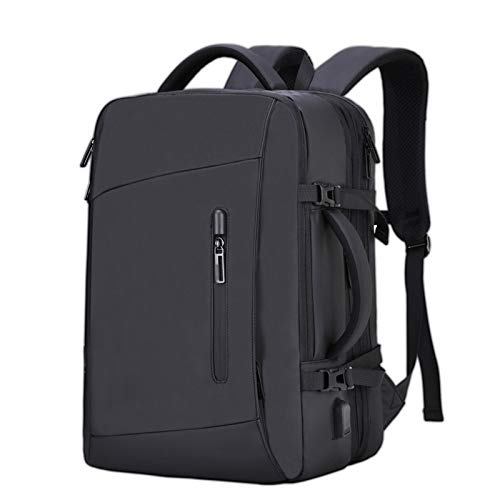 LZQBD Men's Outdoor Backpack, Extended Large Capacity 17 inch Laptop Backpack, Travel USB Charging School Backpack, Business Male Backpack D/Black/As Shown