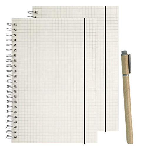 AOU Grid Spiral Notebook Transparent Hard Cover Notebooks For Journal Writing Spiral Bound A5 Premium Thick Paper Graph Paper 5.8 X 8.3 (2-Pack)
