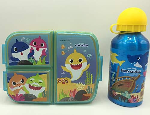 CM Set van aluminium waterfles voor kinderen en lunchbox met 3 vakken, voor meisjes, lekvrij, BPA-vrij, 400 ml (Celest…