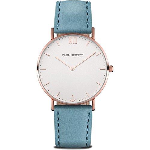 Paul Hewitt Damen Analog Quarz Uhr mit Leder Armband PH-SA-R-SM-W-23M