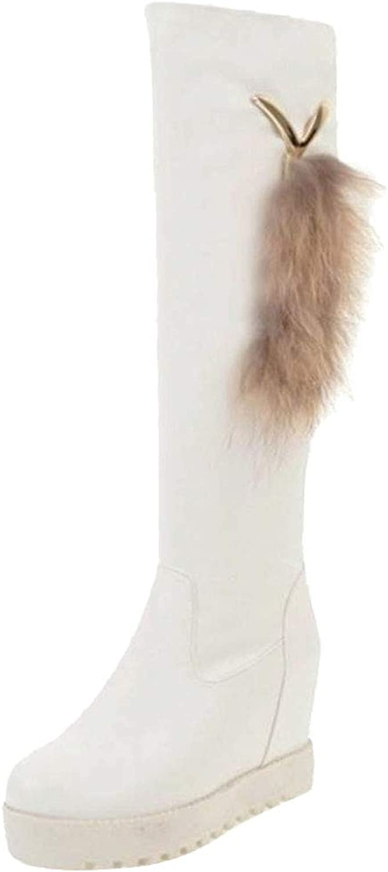 VulusValas Women Wedge Heel Knee Boots Pull On