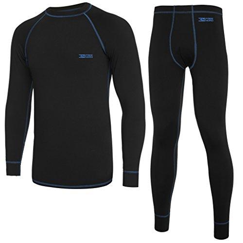 Norde Warm Line męska bielizna funkcyjna, termoaktywna, oddychająca, podstawowa, zestaw do sportów na świeżym powietrzu, jazda na rowerze, bieganie, kolor czarny/niebieski, rozmiar M