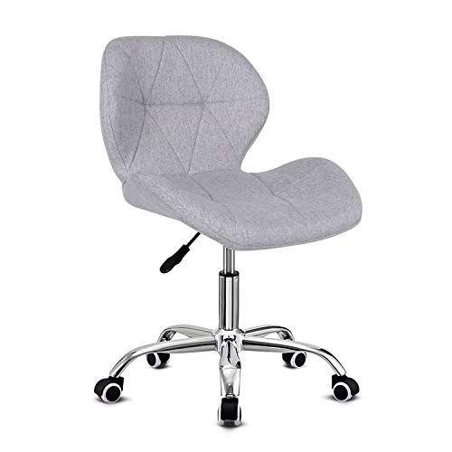 Grey Desk Chair,Comfy Fabric Computer Chair Adjustable Height Office Chair with Chrome Base Padded Swivel Chair,Home/Office Furniture
