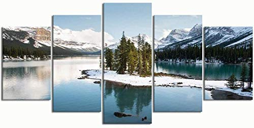 CSDECOR Lona Pintura Moderno Mural 200X100 Cm Pinturas Modern Canvas Painting Wall Art Pictures 5 Piezas, Spirit Island Maligne Lake Jasper National, Decoración De La Pared Carteles