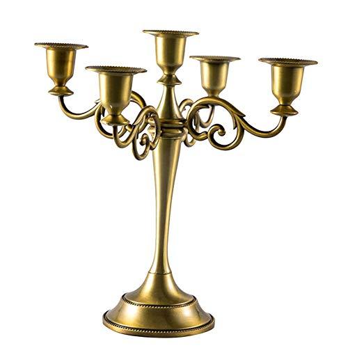 Queta Kerzenleuchter 5-armig Kerzenständer Candle Holder Kerzenhalter als Tischdeko für Weihnachten und Erntedankfest (Bronze)