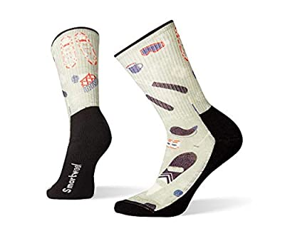 Smartwool Hiking Crew Socks -  Women's Hut Trip Print, Lightly Cushioned Wool Performance Sock Frosty Green Medium