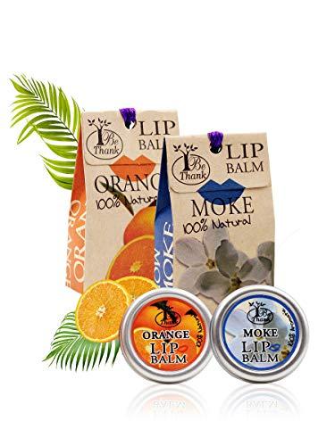 RaKao 100% Natürlicher Lippenbalsam, Umweltfreundlich/keineChemie - Perfekte Pflege für ausgetrocknete Lippen und ideal zur Vorbeugung spröder Lippen (Moke-Orange)