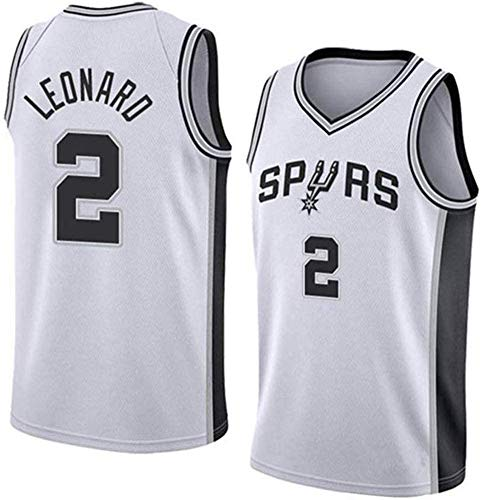 WSUN Maglie da Basket da Uomo NBA - Maglia da Basket San Antonio Spurs 2# Kawhi Leonard NBA - T-Shirt Sportiva da Basket Senza Maniche Traspirante per Il Tempo Libero,B,S(165~170CM/50~65KG)