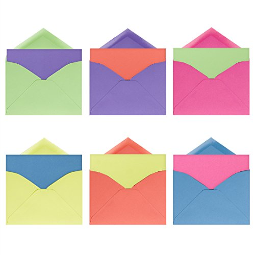 Neon Brights Note Card Assortment Pack - Set of 36 cards - 6 of each color, blank inside and out - with matching envelopes