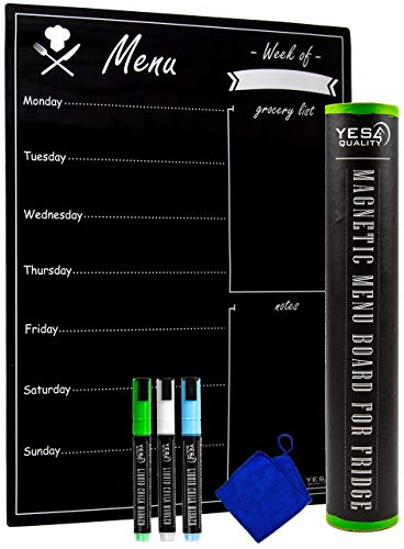 Magnetic Dry Erase Menu Board for Fridge with Easy-Erase Surface - 16 x 12 in - Includes 3 Neon Chalk Markers and Eraser - Weekly Meal Planner Blackboard and Grocery List for Refrigerator - Chalkboard