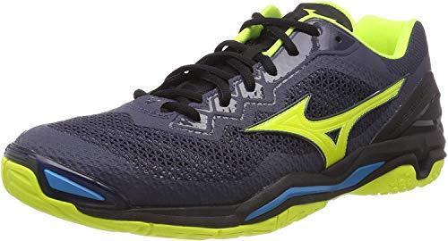 Mizuno Herren Wave Stealth V Sneakers, Mehrfarbig (Omblue/Syellow/Hocean 001), 45 EU