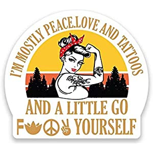 Funny Yoga Tattoo Sticker Vinyl Bumper Sticker Decal Waterproof 5 IM Mostly Peace Love And Light And A Little Go F Yourself