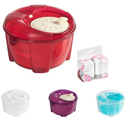 Mabel Home Salatschleuder, Salatschleuder und Mixer, 5,5 Quart, Gemüseschleuder, extra Salz- und Pfefferstreuer inkl. rot