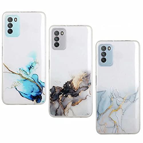 Paquete de 2 fundas para Samsung A02, Galaxy A02, pintura de tinta, diseño de mármol, brillante, a prueba de golpes, ajuste delgado, suave, carcasa protectora para Samsung Galaxy A02, 3 piezas S-5