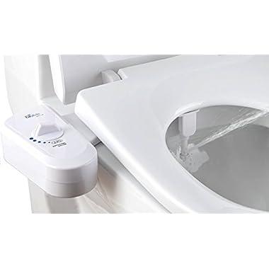 Bio Bidet Simplet BB70 Fresh Water Spray Non-Electric Mechanical Bidet Toilet Seat Attachment, Metal Hose, White