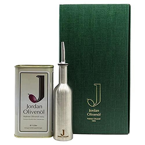 Jordan Olivenöl Präsentkarton Set 12 mit 1 Liter Jordan Olivenöl und 250 ml Edelstahlflasche mit Ausgießer