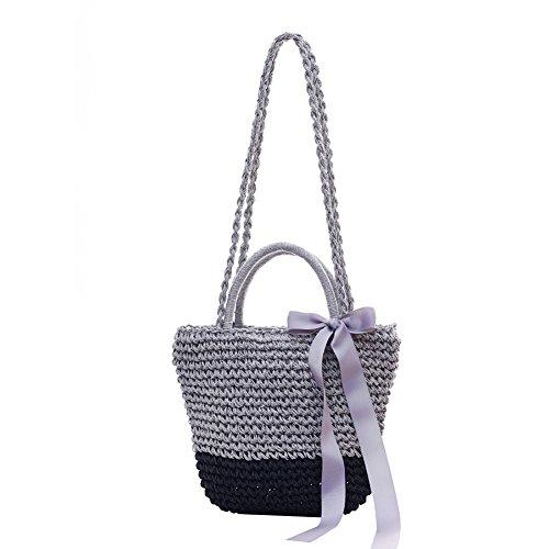 Fansi 1PC New Schleife Stroh Tasche Tragbar mit Doppeltem Verwendungszweck Beach Bag Woven Trompete, As Shown3, 37 * 23 * 23cm