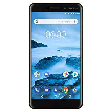 Nokia 6.1 (2018) - Android One (Oreo) - 32 GB - Dual SIM Unlocked Smartphone (AT&T/T-Mobile/MetroPCS/Cricket/H2O) - 5.5  Screen - Black - U.S. Warranty