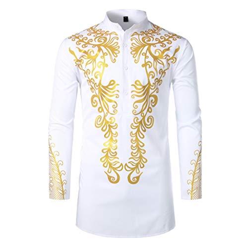 Camisas Hombres, Dragon868 Cuello de Estilo Africano para Hombre Traje Largo Casual Camisas de Manga Larga con Estampado Africano Camisa de Cuello Alto Blusa Tops, S-XXL