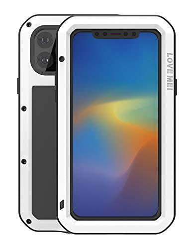 Completo Funda para Apple iPhone 11 Pro MAX(6,5-Pulgada), Love Mei Antichoque Al Aire Libre Híbrido Aluminio Metal Antipolvo Carcasas con Vidrio Templado, Soporte de Carga inalámbrica (Blanco)