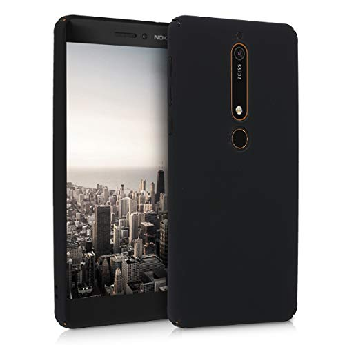 kwmobile Case Compatible with Nokia 6.1 (2018) - Hard Plastic Anti-Scratch Shockproof Smartphone Cover - Black