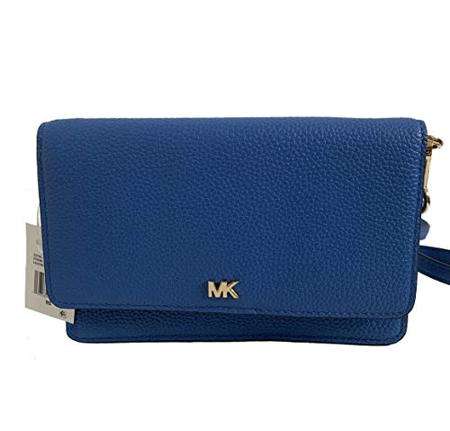 Made of Leather; lining polyester; Snap closure; 1 interior zip pocket, 5 slip pockets, 11 credit card slots and 1 phone pocket Fits up to iPhone Pro Max; 22-24 Inches adjustable and removable strap Gold tone hardware Measurements: Length: 7 x Height...