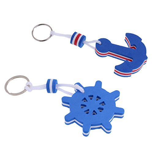 Gazechimp 2-teiliges Pack - Schlüsselanhänger, Schwimmend, als Geschenk ideal für Bootsport Wassersport begeisterte (Anker Und Ruder Förmig, Blau)